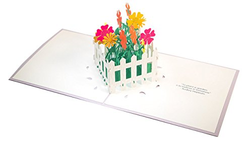 - Paper Pop Cards Flower Fence Pop Up Card for Mother's Day, Birthday, Graduation
