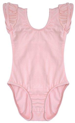 Dancina Leotard Flutter Sleeve Girls Costume Under Shirt Bodysuit For School Events and Plays 6 Ballet Pink (Ballet Bodysuit)