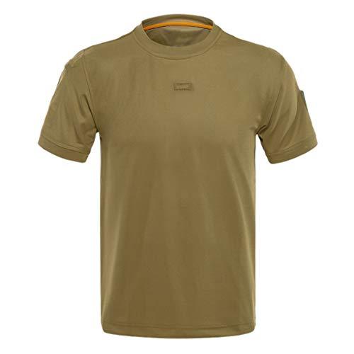 FONMA Men Loose Tactical Short Sleeve Elastic Quick Dry Training T-Shirts Tops Blouses Brown