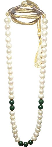 Crystalworld Aldomin Natural Freshwater White Pearls with Green Aventurine Beads Rosary Necklace