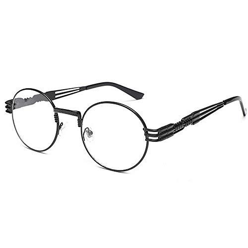 Viento Viento a de Brillantes Negro diseñador exquisitos de pequeñas Color de Gafas Forma Gafas Lisas Marco Metal Prueba los de de Gafas Tonos Estilo Negro Novedad de Hombres KOMEISHO Redonda Retro 7FxwgqBp
