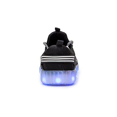 H-Mastery Unisex LED 7 Colores de Luces con USB de Carga Primavera-Verano-Otoño Transpirables calzado deportivo para los Niños y los Adolescentes Negro
