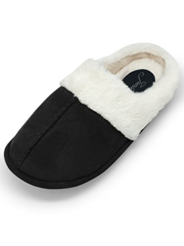 Clogs Fur Black Faux (Junie's Women's Fur Lined Plush Clog House Slipper w/Memory Foam Insole, Black, Size Large)