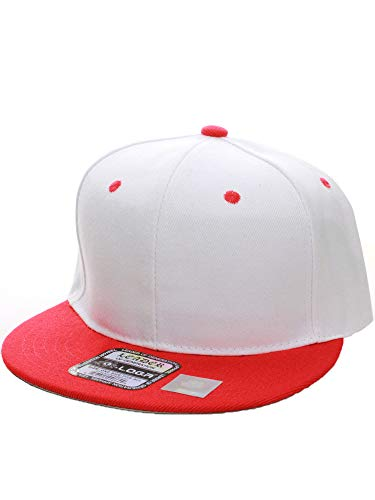 (L.O.G.A. Plain Adjustable Snapback Hats Caps (Many Colors). (One Size, White Red))