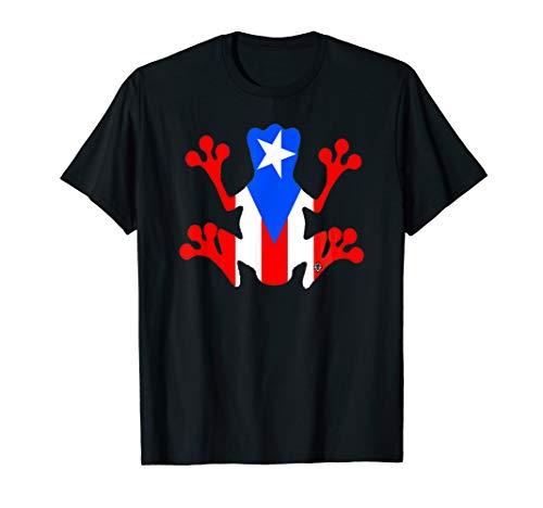 Rico Frog T-shirt - Puerto Rico Flag Coqui Frog T-Shirt