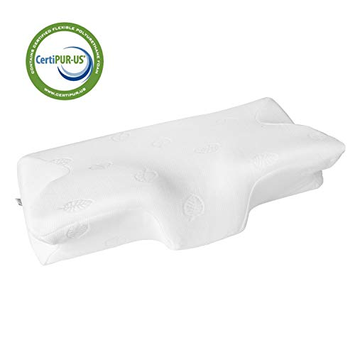 MARNUR 23.5×14.5×5.5 in Cervical Pillow Contour Memory Foam Orthopedic Pillow for Neck Pain Sleeping for Side Sleeper Back Sleeper Stomach Sleeper+White Pillowcase(1 PCS)