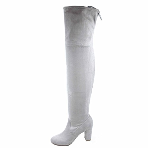 s Round Grey Knee Heel Thigh Soda Boots Chunky Shoes Delicious Fashion High Toe Snivy Women's EZBqT