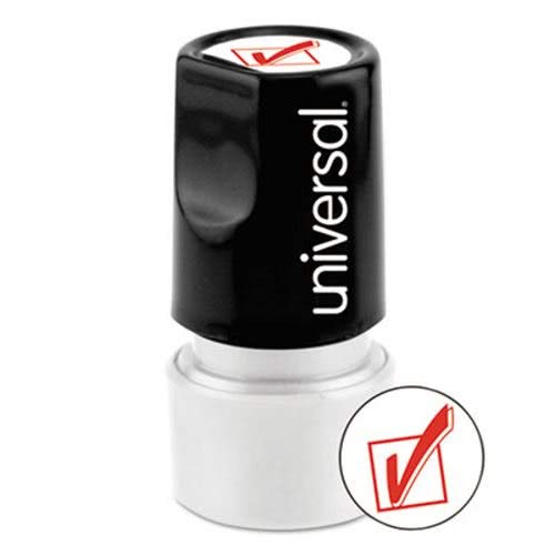 Message Stamp Round (Universal 10075 Round Message Stamp, Check Mark, Pre-Inked/Re-Inkable, Red)
