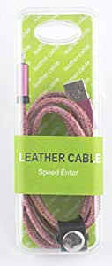 Leather charging cable and charger for apple - purple