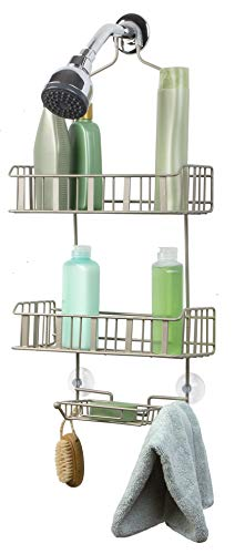 (Richards Homewares Royal E 3-Tier Shower Bathtub Caddy for Over The Showerhead-No Assembly Required – Rustproof-Elegant Satin Nickel Finish – Bathroom Accessory)
