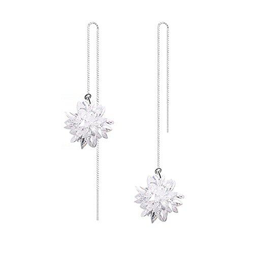 LOCHING Fashion Ice Flower 925 Sterling Silver Earrings Crystal Snowflake Long Line Earrings Unique Earrings Christmas Gift … (L)
