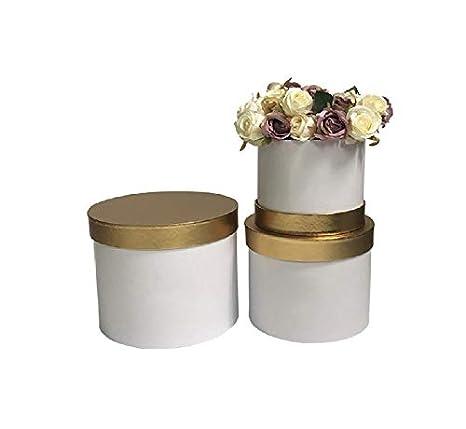 VIPOLIMEX vipol Imex Juego de 2 Redondas Flores Cajas con Cordel, Caja con Tapa,