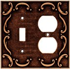 Wall Plates, French Lace Series Single Switch/Duplex, Sponged Copper Finish