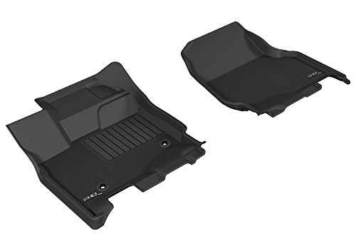 (3D MAXpider Front Row Custom Fit All-Weather Floor Mat for Select Ford F-150 SuperCrew Models - Kagu Rubber)