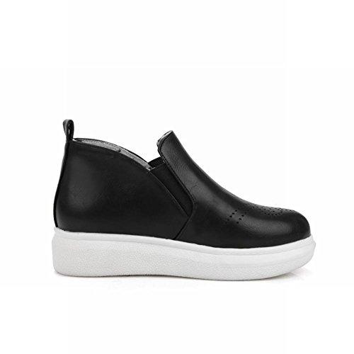 Latasa Dames Slip Op Flats Schoenen Enkel Hoge Chelsea Boots, Zwart