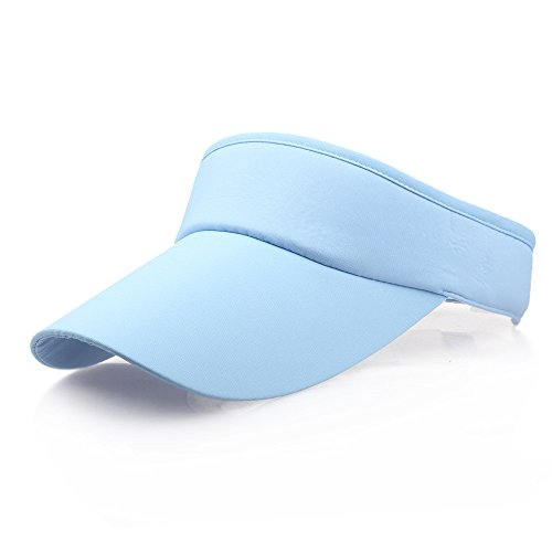 Unisex Sun Sports Visor Large Brim Summer UV Protection Beach Cap Top Level 100% Cotton Cap Outdoors Quick Dry Hat (Sky Blue) by Cealu (Image #2)