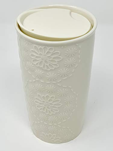 Starbucks 2019 Limited Edition Floral design in high relief White Double Walled Ceramic Tumbler, 10 Fl Oz