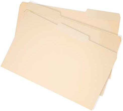 AmazonBasics Manila 3-Tab File Folders, Legal Size Assorted Position, 100/Box