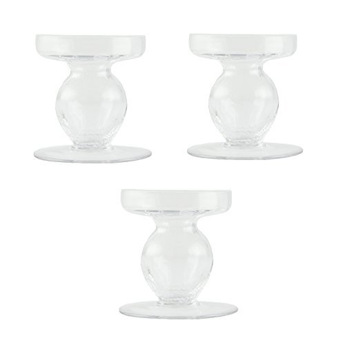 Clear Glass Pillar Candle Holders, Set of 3, Hand Blown