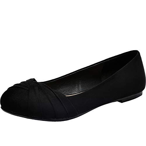 (Aukusor Women's Wide Width Flat Shoes - Slip On Pointed Toe Ballet Flats.(BlackSuede 181011,12.5W))