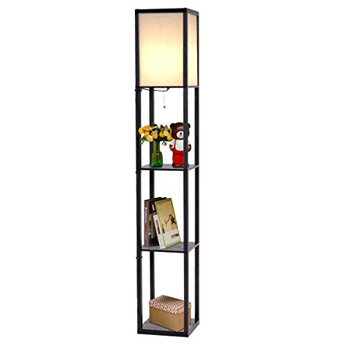 Costzon Shelf Floor Lamp w/ 2 Storage Shelves, 63 Inch Height, Switch on/Off, ETL Approved, Linen Shade by Costzon