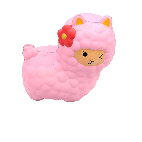 Wotryit Jumbo Sheep Squishy Cute Alpaca Galaxy Super Slow Rising Scented Fun Animal Toys (pink)