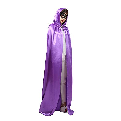 wodceeke Halloween Full Length Hooded Cloak, Unisex Thin Cape Costume Accessories for Cosplay & Halloween Party(Purple)