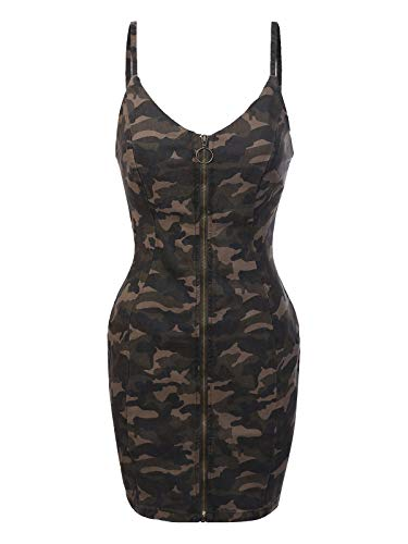 Design by Olivia Women's Spagetti Strap Front Zipper Closure Olive Camo Bodycon Dress Olive S