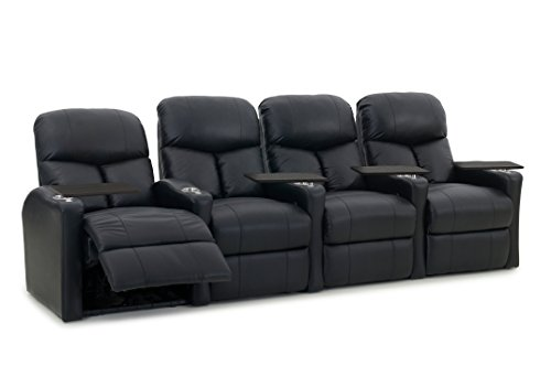 Octane Seating BOLT-R4SM-BND-BL Octane Bolt XS400 Leather Home Theater Recliner Set (Row of 4) ()