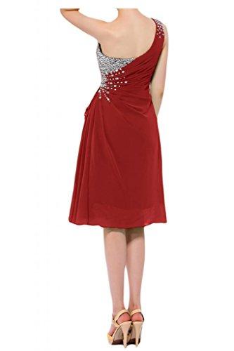 Toscana novia preferido un-hombro vestidos de gasa Teelang por la noche vestido corto vestidos de fiesta rojo 50