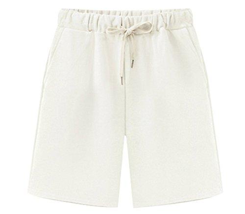 Vcansion Women's Casual Shorts Knee-Length Bermuda Shorts Elastic Waist and Drawstring Closure