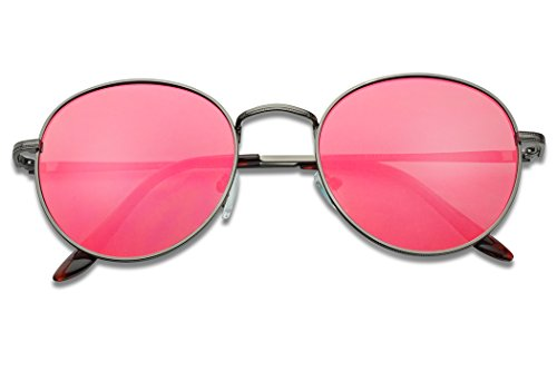 SunglassUP - Colorful Classic Vintage Round Flat Lens Lennon Style Sunglasses (Gun Metal Frame | Ruby Red, - Lens Colorful