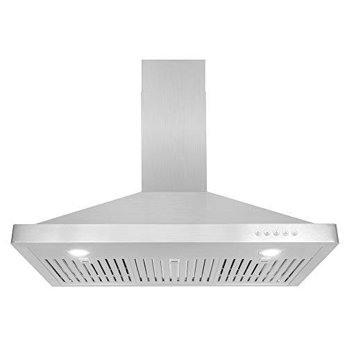 Chimney Style Range Hoods - Cosmo 63190 36-in Wall-Mount Range Hood 760-CFM | Ducted / Ductless Convertible Duct , Kitchen Chimney-Style Over Stove Vent LED Light , 3 Speed Exhaust Fan , Permanent Filter ( Stainless Steel )