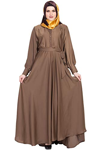Abayalooks Golden Nida Large Flared Girlish Design Abaya For Women