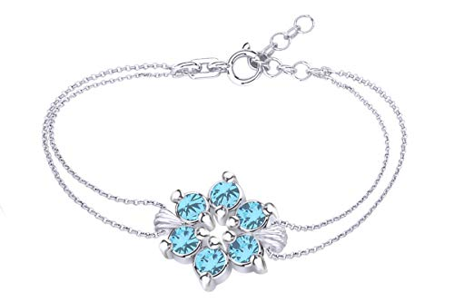 (AFFY Round Shape Simulated Blue Topaz Flower Chain Bracelets in 14k White Gold Over Sterling Silver -7.5