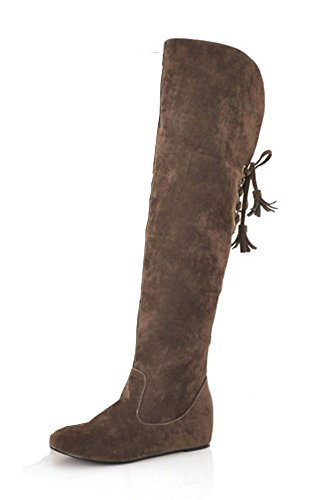 Brown Above Lace The Boots Women's Up Knee Fashion Heighten Aisun AxBzqwIf
