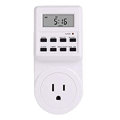 Digital Light Timer Socket 7 Day Weekly Programmable Indoor Wall Timer Switches with Battery Backup for Electric Outlets(1 Pack)
