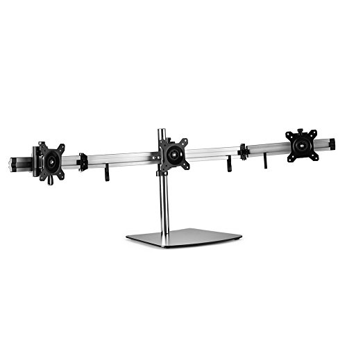TNP Triple Monitor Stand - Freestanding LCD Computer Screen Desk Mount Adjustable Mount / Articulating Stand for 19, 20, 22, 23, 24 Inch Monitors VESA 75 and 100 Compatible Full Motion