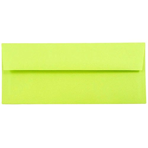 "JAM Paper #10 Business Envelope - 4 1/8"" x 9 1/2"" - Brite Hue Ultra Lime Green - 50/pack"