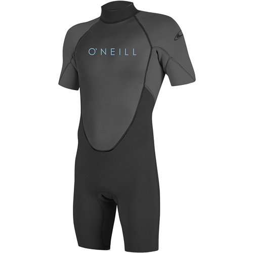 O'Neill Youth Reactor-2 2mm Back Zip Short Sleeve Spring Wetsuit, Black/Graphite, 14 by O'Neill Wetsuits