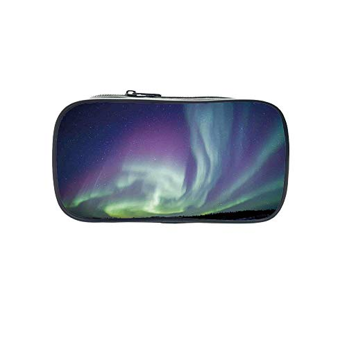 Personal Tailor Pen Bag,Northern Lights,Exquisite Atmosphere Solar Starry Sky Calming Night Image,Mint Green Dark Blue Violet,for Students,Comfortable Design by iPrint