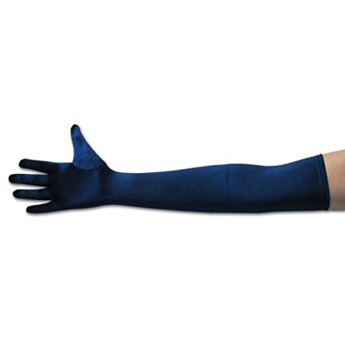 22' Classic Long Opera Length Satin Gloves in Navy Blue (Lady In The Navy Gloves)