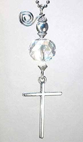(Rear View Mirror Car Accessory Ornament: Silvery Religious Christian Cross & Clear Crystal)