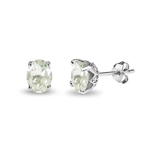 Sterling Silver Green Amethyst and White Topaz Oval Crown Stud Earrings ()