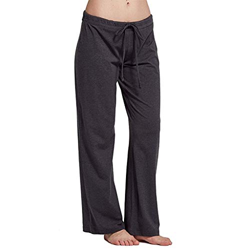 (Casual Stretch Cotton Pajama Pants Women Simple Sport Yoga Solid Pants Gray)