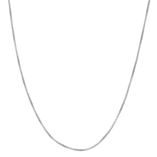 White 18' Neck - Kooljewelry Sterling Silver 0.8 mm Venetian Box Chain Necklace (18 inch)