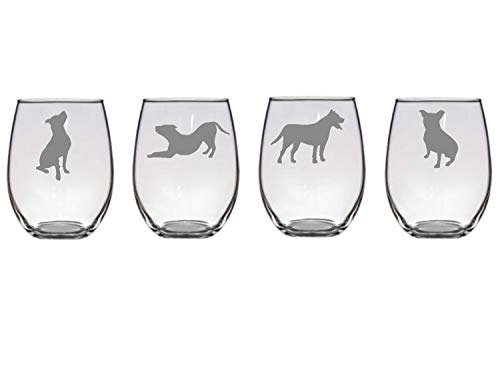 Animal Wine Glass Set of 4 Pit Bull Wine Glasses, Etched American Staffordshire Terrier Wine Glasses, Pit Bull Lover Gift, Pit Bull Barware