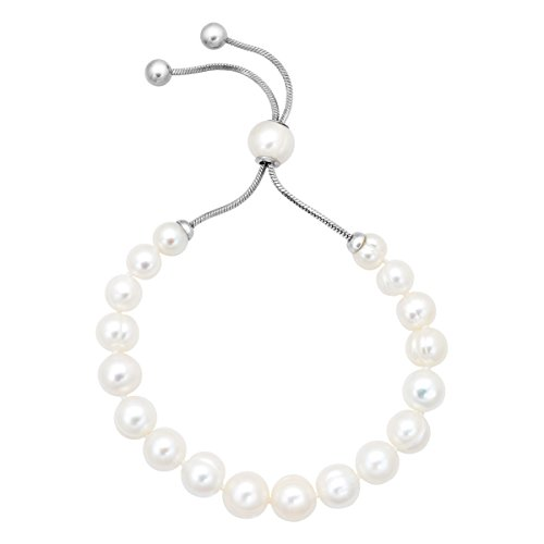 Honora 7-10 mm Freshwater White Cultured Pearl Bolo Bead Bracelet with Slider in Stainless Steel