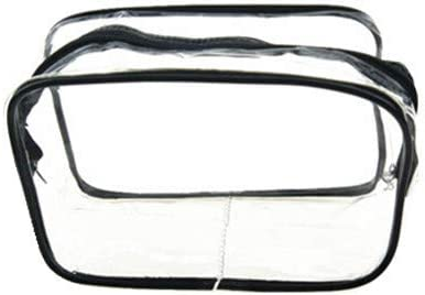 LANYAOWEN 化粧品のバッグ女性の透明なクリアジッパーメイクアップバッグオーガナイザーバスウォッシュメイクアップトイレタリーポーチ (Color : Black, Size : L)