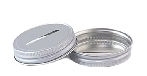 Set of 2 Aluminum Mason Jar Lid with Coin Slot - Color Choice